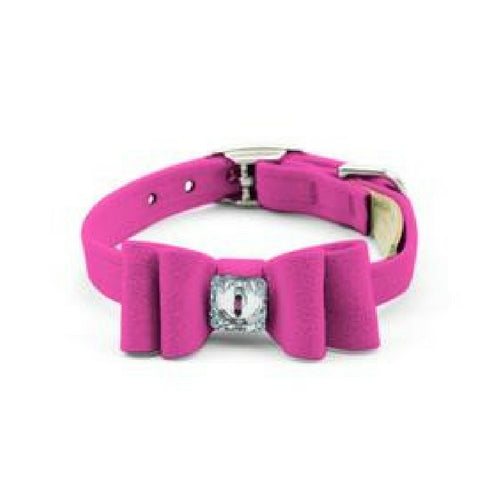 Susan Lanci Designs Big Bow Crystal Dog Collar — Pink Sapphire