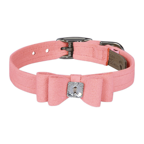 Susan Lanci Designs Big Bow Crystal Dog Collar — Puppy Pink