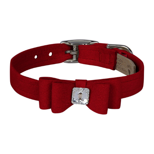 Susan Lanci Designs Big Bow Crystal Dog Collar — Red