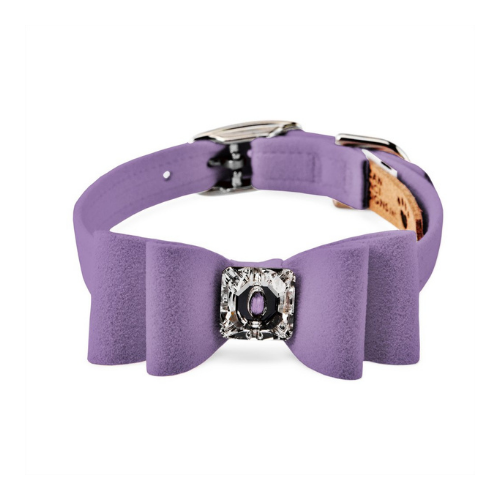Susan Lanci Designs Big Bow Crystal Dog Collar — Ultra Violet