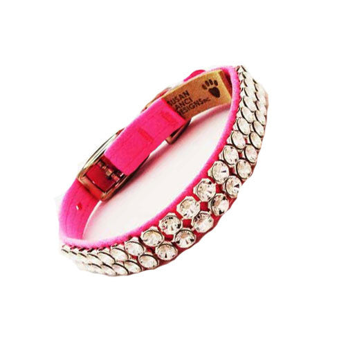 Susan Lanci Designs Giltmore 2 Row XL Crystal Collar — Perfect Pink