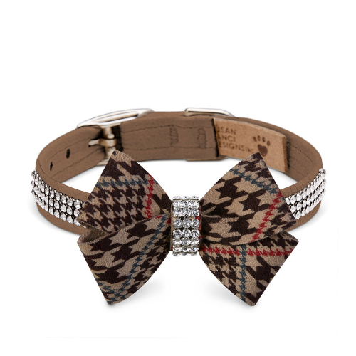 Susan Lanci Giltmore 3 Row Nouveau Bow Collar — Chocolate Houndstooth