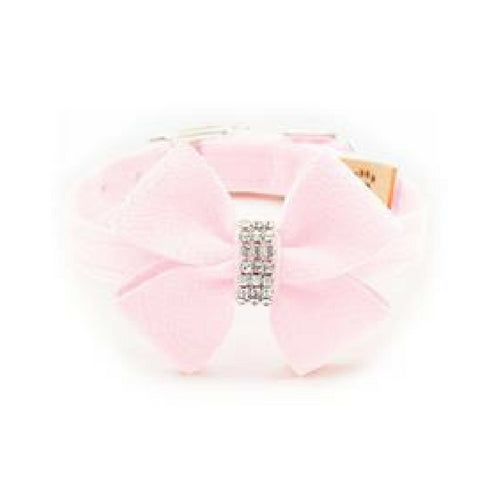Susan Lanci Designs Nouveau Bow Crystal Ultrasuede Collar — Puppy Pink