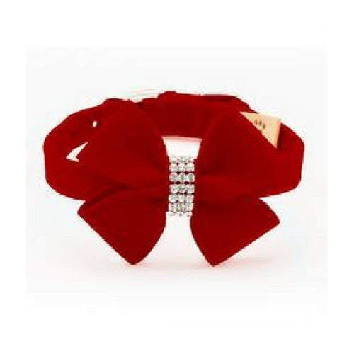Susan Lanci Designs Nouveau Bow Crystal Ultrasuede Collar — Red