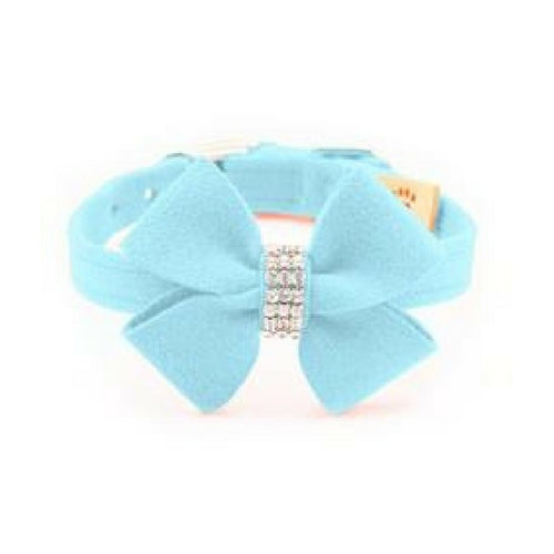 Susan Lanci Designs Nouveau Bow Crystal Ultrasuede Collar — Tiffi Blue