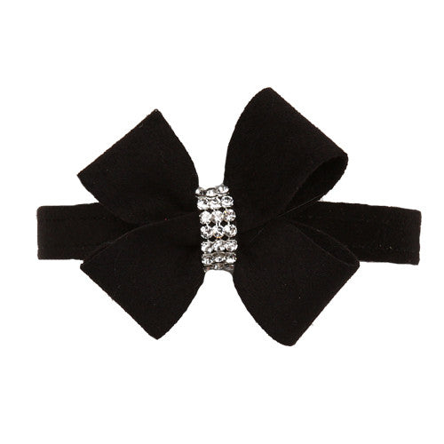 Susan Lanci Designs Nouveau Bow Crystal Ultrasuede Collar — Black