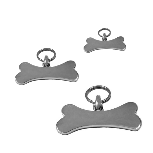 Silver Bones Sterling Silver Hand-Stamped Horizontal Bone Dog ID Tag All Sizes