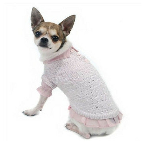 Truly Oscar by Oscar Newman Pink and Proper Designer Dog Sweater on Dog