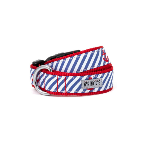 The Worthy Dog Anchor Ribbon Nylon Webbing Matching Lead