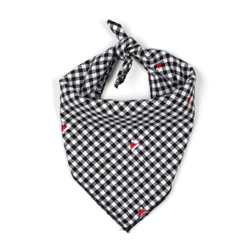 The Worthy Dog Black Gingham with Santa Hats Holiday Bandana