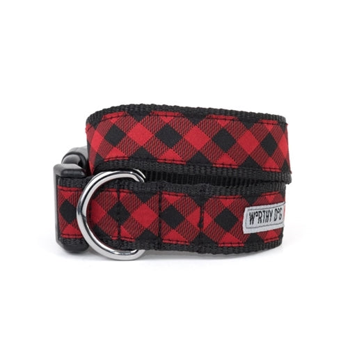 The Worthy Dog Buffalo Check Ribbon Nylon Webbing Dog Collar