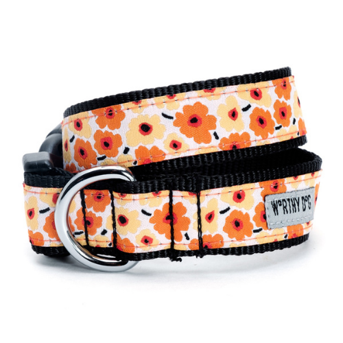 The Worthy Dog Fleurs Ribbon Nylon Webbing Dog Collar