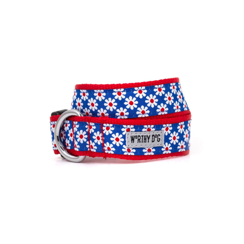 The Worthy Dog Daisies Ribbon Nylon Webbing Dog Collar