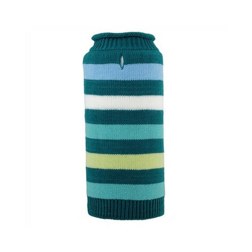 The Worthy Dog Dapper Stripe Roll Neck Acrylic Knit Dog Sweater Teal
