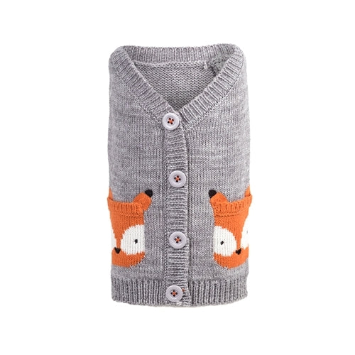 The Worthy Dog Fox Cardigan Acrylic Knit Dog Sweater