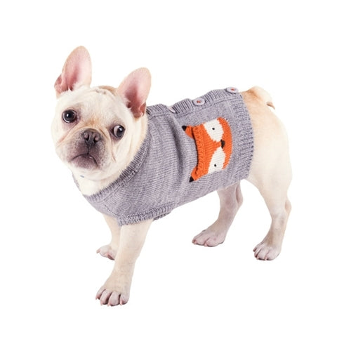 The Worthy Dog Fox Cardigan Acrylic Knit Dog Sweater on Dog