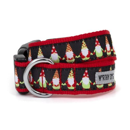 The Worthy Dog Holiday Gnomes Dog Collar