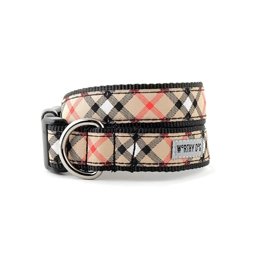 The Worthy Dog Classic Tan Plaid Dog Collar