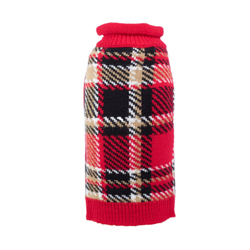 The Worthy Dog Classic Plaid Acrylic Dog Sweater Red