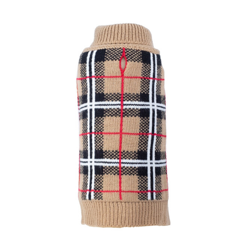 The Worthy Dog Classic Plaid Acrylic Dog Sweater Tan