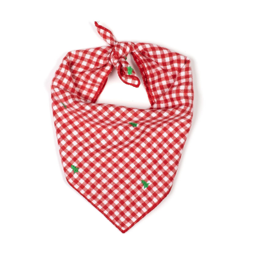 The Worthy Dog Red Gingham Holiday Tree Bandana