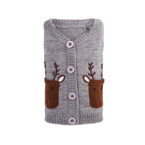 The Worthy Dog Reindeer Cardigan Acrylic Knit Dog Sweater
