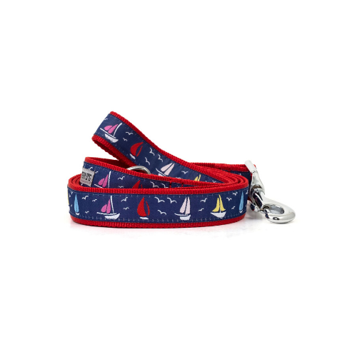 The Worthy Dog Sailboats Ribbon Nylon Webbing Matching Lead