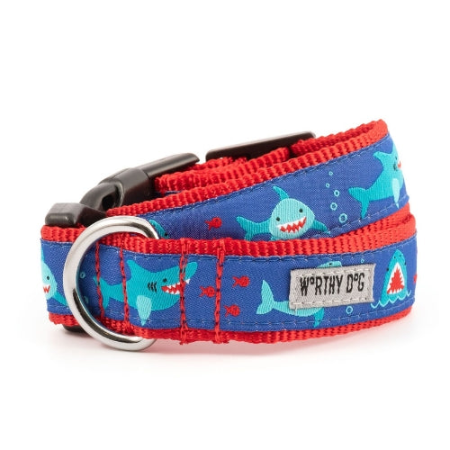 The Worthy Dog Shark Chomp Ribbon Nylon Webbing Dog Collar