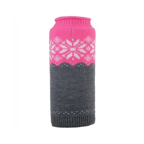 The Worthy Dog Ski Lodge Roll Neck Acrylic Knit Dog Sweater Fuchsia + Grey
