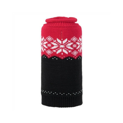 The Worthy Dog Ski Lodge Roll Neck Acrylic Knit Dog Sweater Red + Black