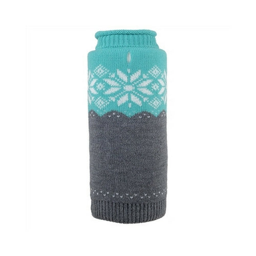 The Worthy Dog Ski Lodge Roll Neck Acrylic Knit Dog Sweater Teal + Grey