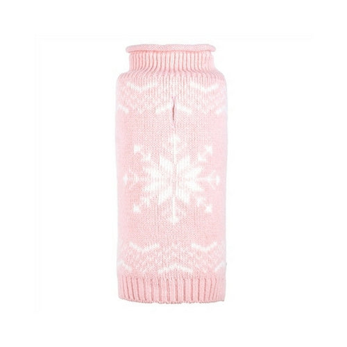 The Worthy Dog Snowflake Roll Neck Acrylic Knit Dog Sweater Icy Pink
