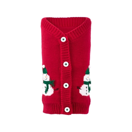 The Worthy Dog Snowman Cardigan Acrylic Knit Dog Sweater