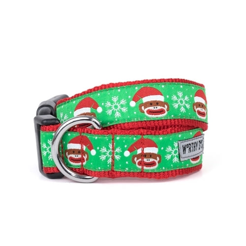 The Worthy Dog Sock Monkey Santa Holiday Dog Collar