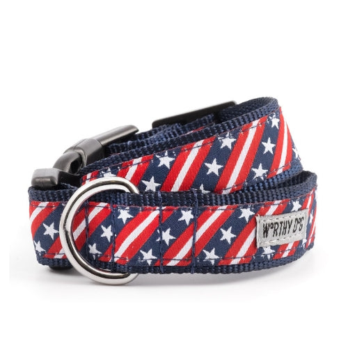 The Worthy Dog Bias Stars and Stripes Ribbon Nylon Webbing Dog Collar