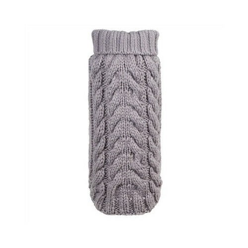 The Worthy Dog Cable Knit Turtleneck Acrylic Knit Dog Sweater Grey