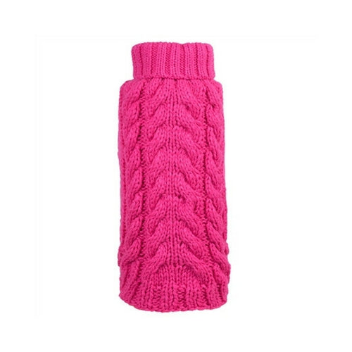 The Worthy Dog Cable Knit Turtleneck Acrylic Knit Dog Sweater Pink