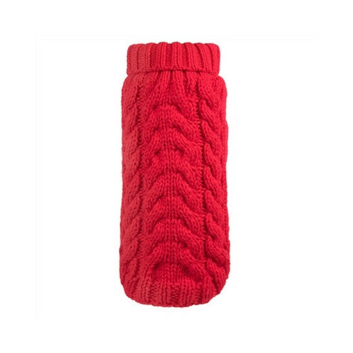 The Worthy Dog Cable Knit Turtleneck Acrylic Knit Dog Sweater Red
