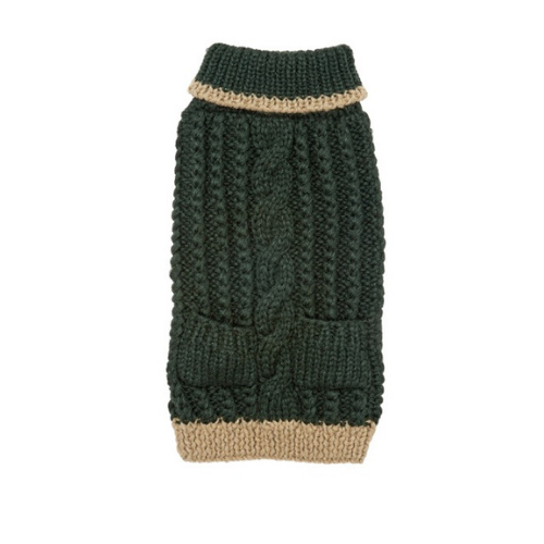 Up Country Hand Knit Classic Cable Acrylic Dog Sweater — Forest