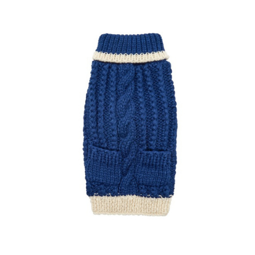 Up Country Hand Knit Classic Cable Acrylic Dog Sweater — Navy