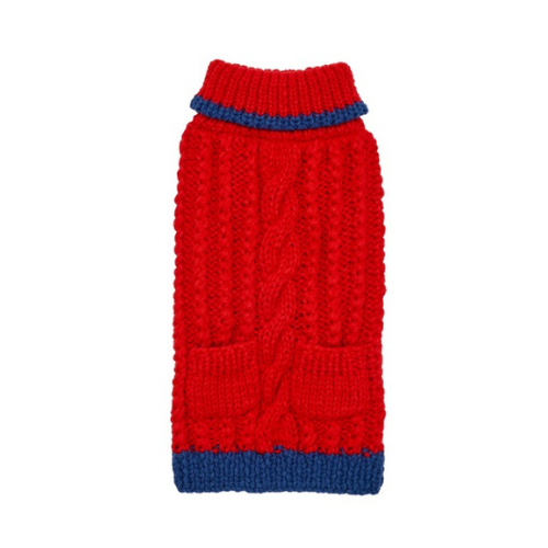 Up Country Hand Knit Classic Cable Acrylic Dog Sweater — Red