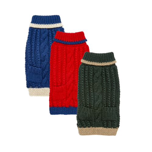 Up Country Hand Knit Classic Cable Acrylic Dog Sweater — All Colors