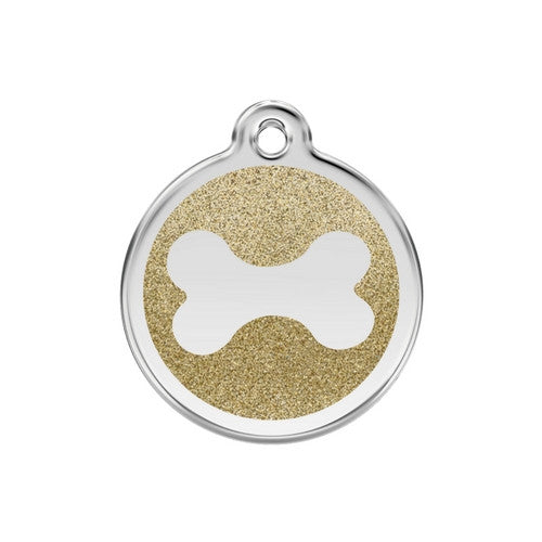 Red Dingo Glitter Bone Stainless Steel Dog ID Tag Medium Gold