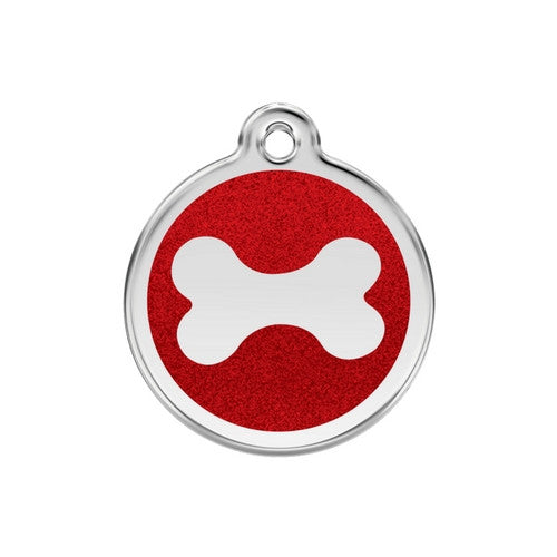 Red Dingo Glitter Bone Stainless Steel Dog ID Tag Medium Red