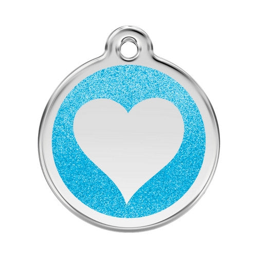 Red Dingo Glitter Heart Stainless Steel Dog ID Tag Large Aqua