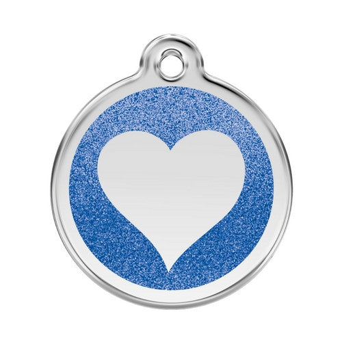 Red Dingo Glitter Heart Stainless Steel Dog ID Tag Large Dark Blue