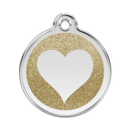 Red Dingo Glitter Heart Stainless Steel Dog ID Tag Large Gold