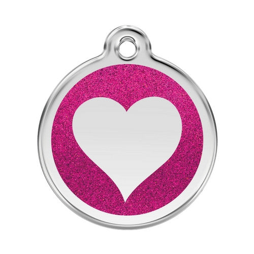 Red Dingo Glitter Heart Stainless Steel Dog ID Tag Large Hot Pink