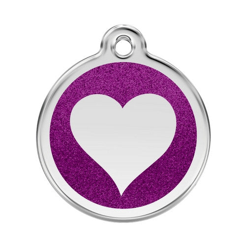 Red Dingo Glitter Heart Stainless Steel Dog ID Tag Large Purple