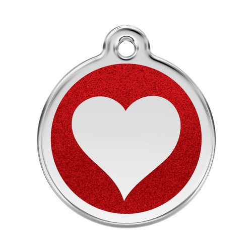 Red Dingo Glitter Heart Stainless Steel Dog ID Tag Large Red